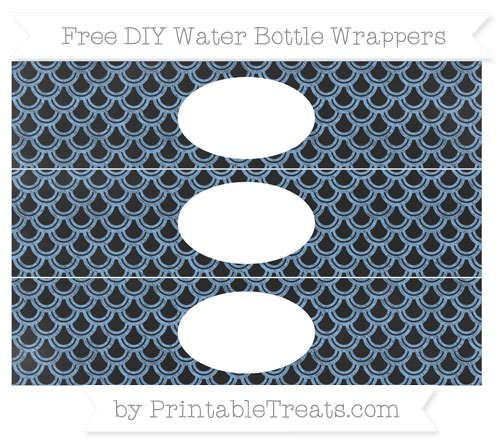 Free Pastel Blue Fish Scale Pattern Chalk Style DIY Water Bottle Wrappers
