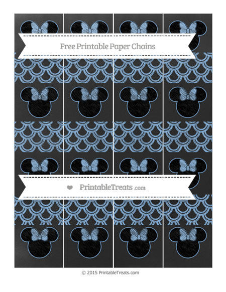 Free Pastel Blue Fish Scale Pattern Chalk Style Minnie Mouse Paper Chains