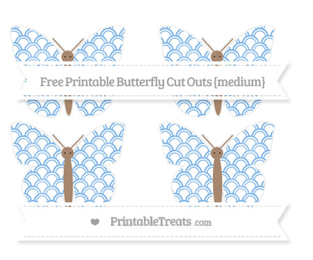 Free Pastel Blue Fish Scale Pattern Medium Butterfly Cut Outs