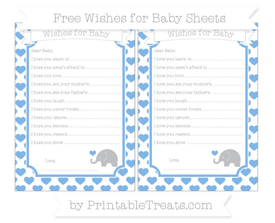 Free Pastel Blue Heart Pattern Baby Elephant Wishes for Baby Sheets