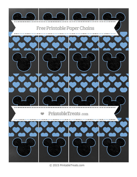 Free Pastel Blue Heart Pattern Chalk Style Mickey Mouse Paper Chains