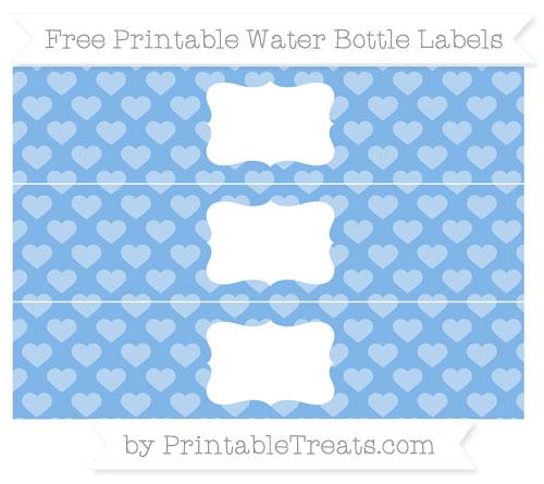 Free Pastel Blue Heart Pattern Water Bottle Labels