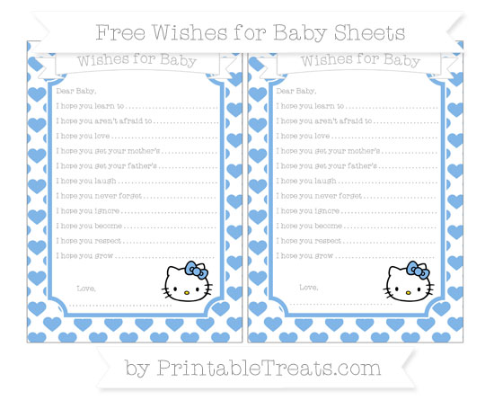 Free Pastel Blue Heart Pattern Hello Kitty Wishes for Baby Sheets