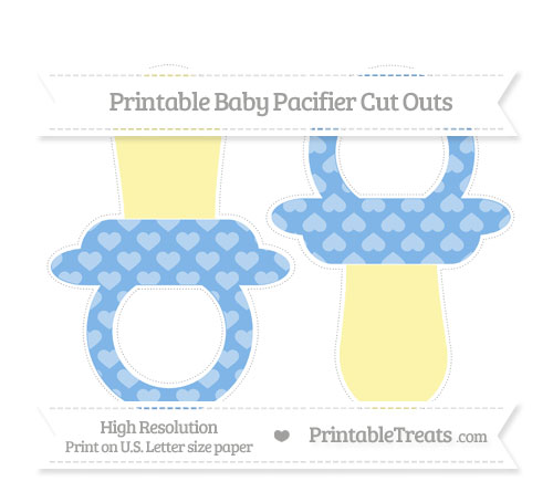 Free Pastel Blue Heart Pattern Large Baby Pacifier Cut Outs