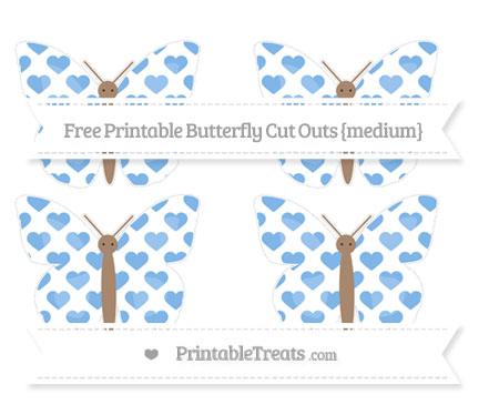 Free Pastel Blue Heart Pattern Medium Butterfly Cut Outs