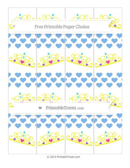 Free Pastel Blue Heart Pattern Princess Tiara Paper Chains