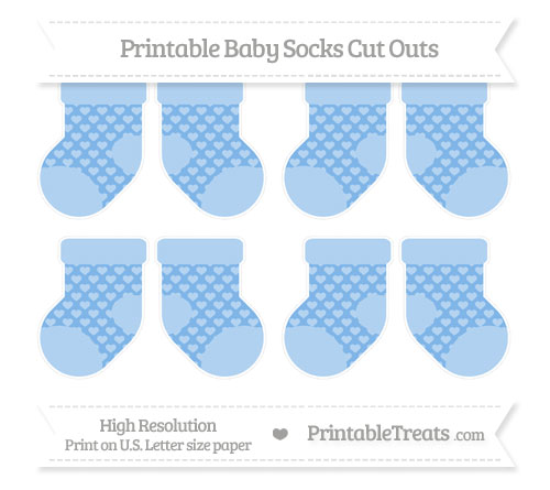 Free Pastel Blue Heart Pattern Small Baby Socks Cut Outs