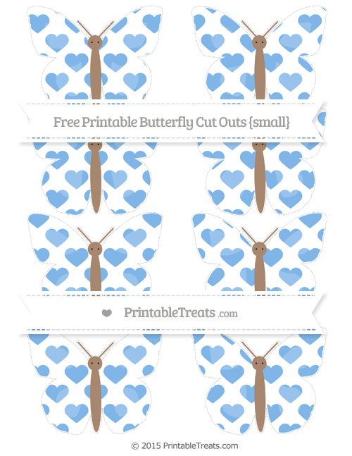 Free Pastel Blue Heart Pattern Small Butterfly Cut Outs