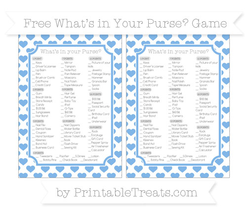 Free Pastel Blue Heart Pattern What's in Your Purse Baby Shower Game