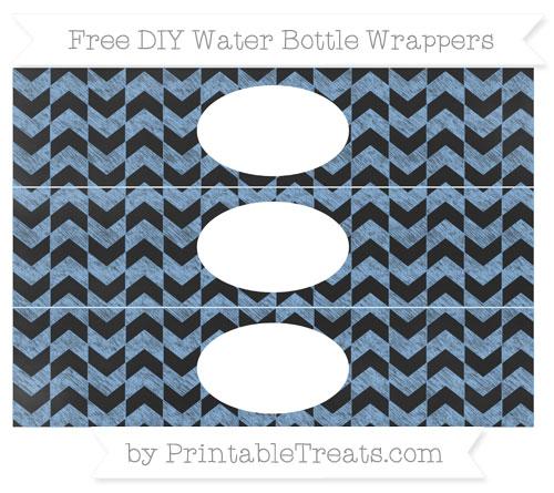 Free Pastel Blue Herringbone Pattern Chalk Style DIY Water Bottle Wrappers