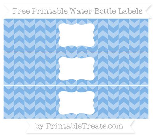 Free Pastel Blue Herringbone Pattern Water Bottle Labels