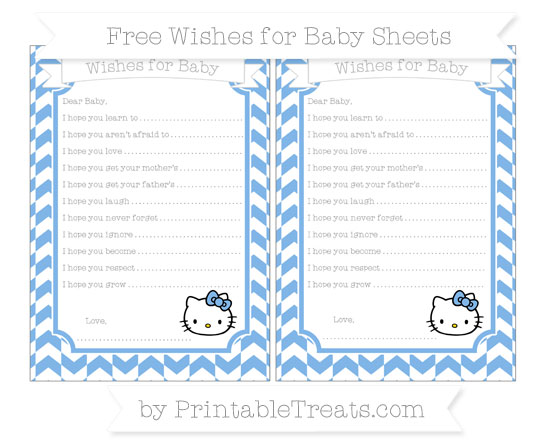 Free Pastel Blue Herringbone Pattern Hello Kitty Wishes for Baby Sheets
