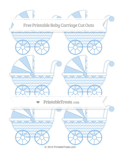 Free Pastel Blue Herringbone Pattern Small Baby Carriage Cut Outs