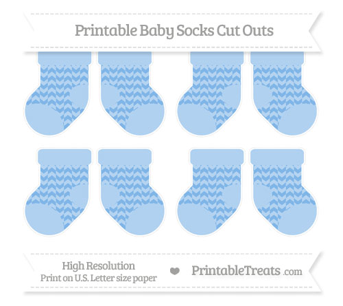 Free Pastel Blue Herringbone Pattern Small Baby Socks Cut Outs