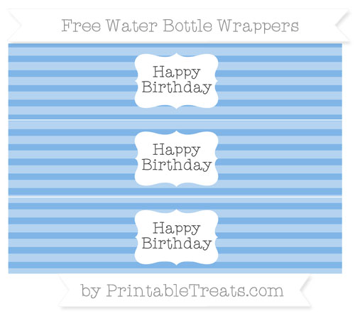 Free Pastel Blue Horizontal Striped Happy Birhtday Water Bottle Wrappers