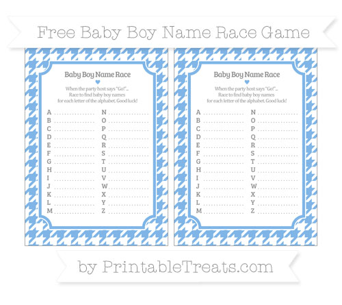 Free Pastel Blue Houndstooth Pattern Baby Boy Name Race Game
