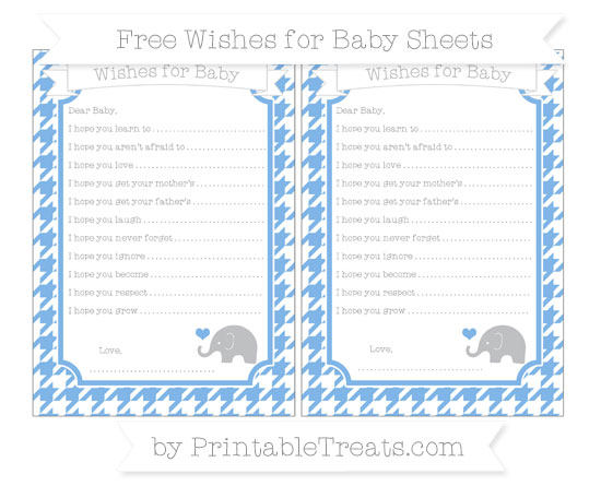 Free Pastel Blue Houndstooth Pattern Baby Elephant Wishes for Baby Sheets