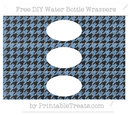 Free Pastel Blue Houndstooth Pattern Chalk Style DIY Water Bottle Wrappers