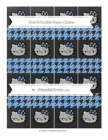 Free Pastel Blue Houndstooth Pattern Chalk Style Hello Kitty Paper Chains