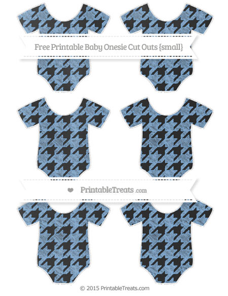 Free Pastel Blue Houndstooth Pattern Chalk Style Small Baby Onesie Cut Outs