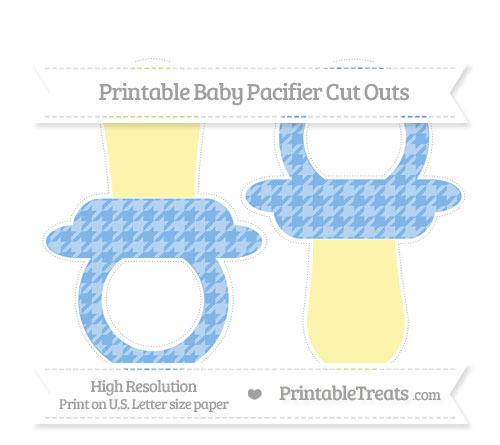 Free Pastel Blue Houndstooth Pattern Large Baby Pacifier Cut Outs
