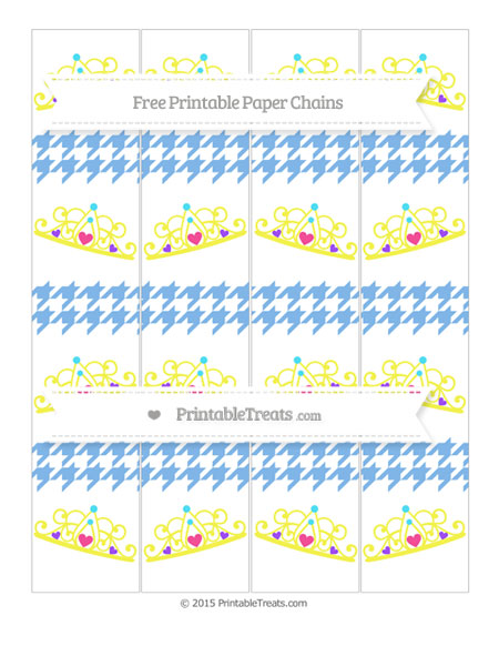 Free Pastel Blue Houndstooth Pattern Princess Tiara Paper Chains