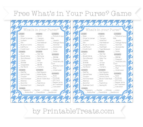 Free Pastel Blue Houndstooth Pattern What's in Your Purse Baby Shower Game