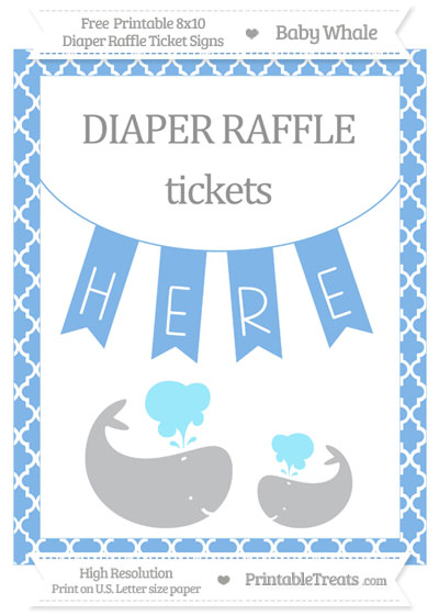 Free Pastel Blue Moroccan Tile Baby Whale 8x10 Diaper Raffle Ticket Sign