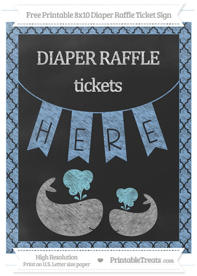 Free Pastel Blue Moroccan Tile Chalk Style Baby Whale 8x10 Diaper Raffle Ticket Sign