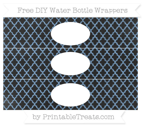 Free Pastel Blue Moroccan Tile Chalk Style DIY Water Bottle Wrappers