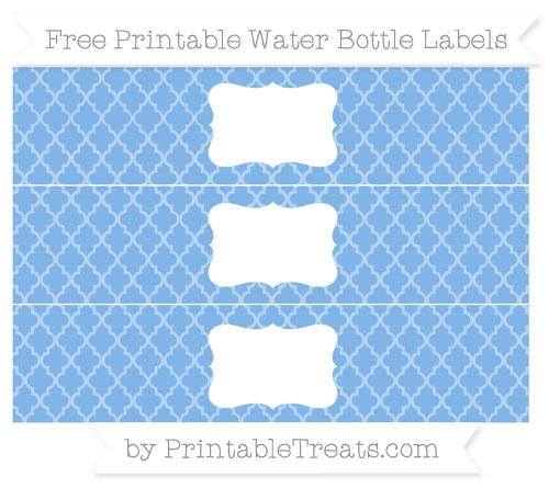 Free Pastel Blue Moroccan Tile Water Bottle Labels