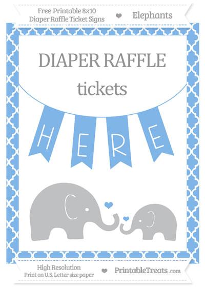 Free Pastel Blue Moroccan Tile Elephant 8x10 Diaper Raffle Ticket Sign