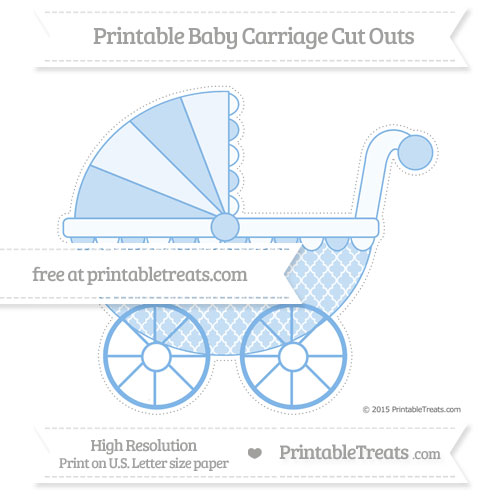 Free Pastel Blue Moroccan Tile Extra Large Baby Carriage Cut Outs