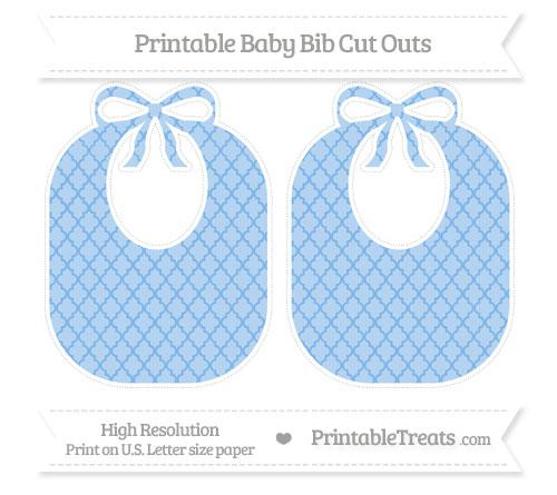 Free Pastel Blue Moroccan Tile Large Baby Bib Cut Outs