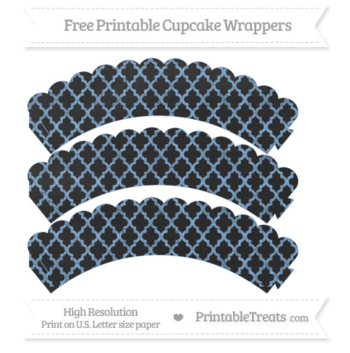 Free Pastel Blue Moroccan Tile Pattern Chalk Style Scalloped Cupcake Wrappers