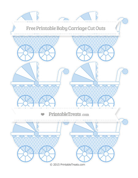 Free Pastel Blue Moroccan Tile Small Baby Carriage Cut Outs