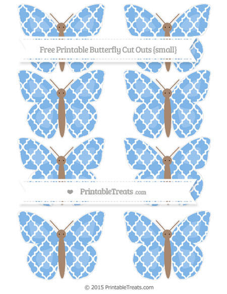 Free Pastel Blue Moroccan Tile Small Butterfly Cut Outs
