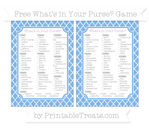 Free Pastel Blue Moroccan Tile What's in Your Purse Baby Shower Game