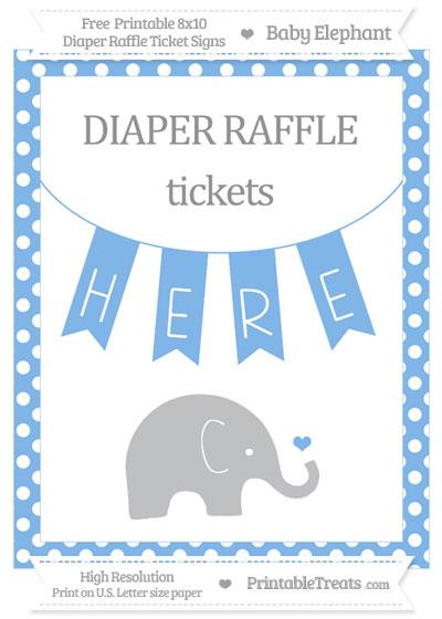 Free Pastel Blue Polka Dot Baby Elephant 8x10 Diaper Raffle Ticket Sign
