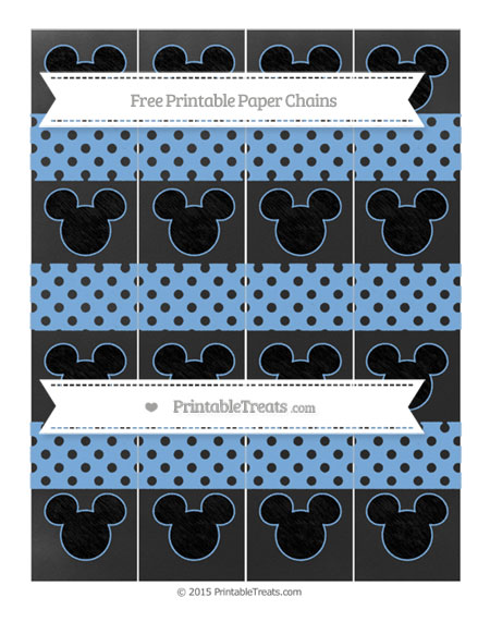 Free Pastel Blue Polka Dot Chalk Style Mickey Mouse Paper Chains