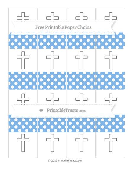Free Pastel Blue Polka Dot Cross Paper Chains