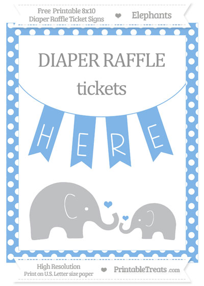Free Pastel Blue Polka Dot Elephant 8x10 Diaper Raffle Ticket Sign