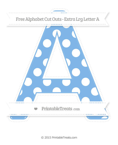 Free Pastel Blue Polka Dot Extra Large Capital Letter A Cut Outs