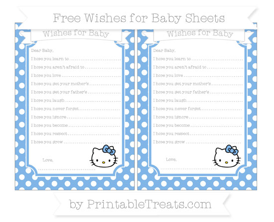 Free Pastel Blue Polka Dot Hello Kitty Wishes for Baby Sheets