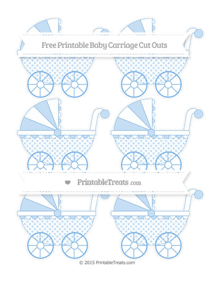 Free Pastel Blue Polka Dot Small Baby Carriage Cut Outs