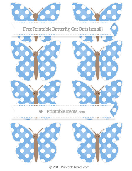 Free Pastel Blue Polka Dot Small Butterfly Cut Outs