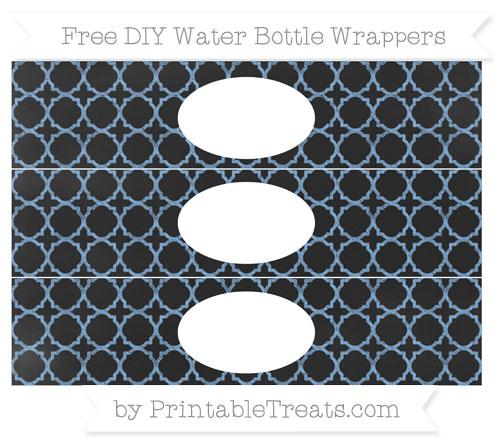 Free Pastel Blue Quatrefoil Pattern Chalk Style DIY Water Bottle Wrappers