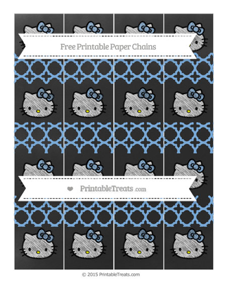 Free Pastel Blue Quatrefoil Pattern Chalk Style Hello Kitty Paper Chains
