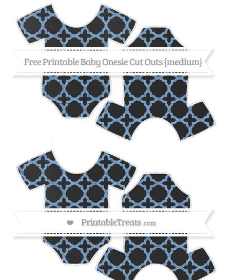 Free Pastel Blue Quatrefoil Pattern Chalk Style Medium Baby Onesie Cut Outs