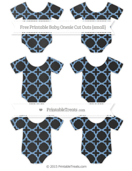 Free Pastel Blue Quatrefoil Pattern Chalk Style Small Baby Onesie Cut Outs
